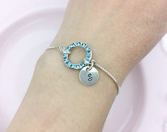 One sterling silver bracelet with initial charm / Bridesmaid gift / Mother of the bride bracelet / Mother of the groom bracelet