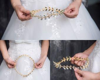 Laurel Leaf Crown, Bridal Tiara, Bridal Crown, Crystal Tiara, Wedding Accessories, Boho Halo, Roman Crown, Vintage, Grecian tiara, #2020