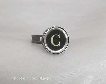 Typewriter Key Vintage Letter C Ring