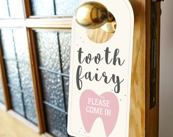 Tooth Fairy Door Sign - Official Tooth Fairy Sign - Tooth Fairy Printable - Instant Download and Edit with Adobe Reader