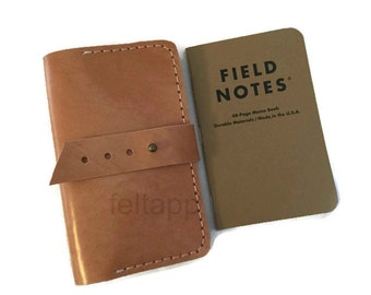 Leather Field Notes Case, Field Notes Cover, Travel Journal, Field Notes Wallet, Journal Case, Italian Vegetable Tanned Leather