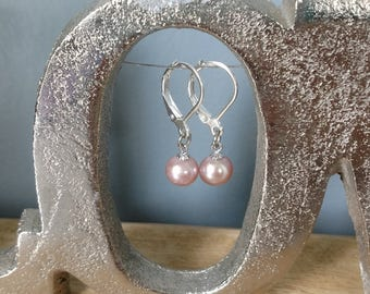 MADE TO ORDER!!!! Sterling Silver Dangle Leverback Earrings-- Made to Order with your Pearls from the Pearl Party!!
