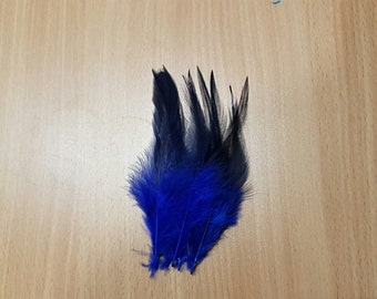 Royal Blue Hackle Feather Fringe With Darker Tips / 20 loose feathers
