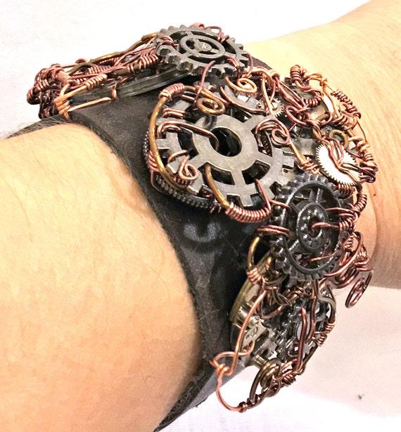 Leather, Gears Steampunk Bracelet