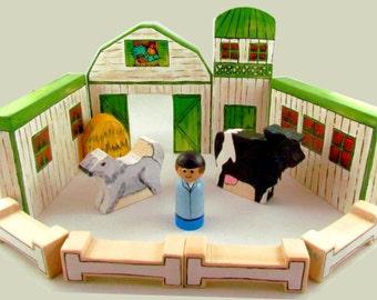 Build-A-Barn™ - Barn Toy - Farm Toy - wooden barn - wooden farmyard - wooden farm animals - peg doll farm play set  - made in Canada