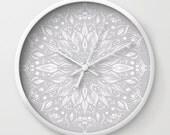 Grey Flower Mandala Wall Clock, grey wall clock, modern wall clock, gray wall clock, grey white clock, grey flower clock, mandala clock