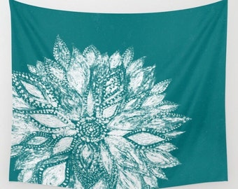 Teal Flower Wall Tapestry, green wall tapestry, dorm room decor, flower wall tapestry, teal white tapestry, teal wall tapestry