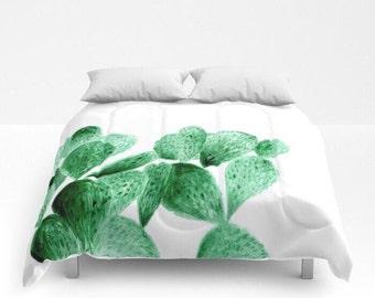 Cactus Comforter, cactus quilt, white comforter, full comforter, cactus bedding, cactus bed cover, queen comforter, cactus duvet