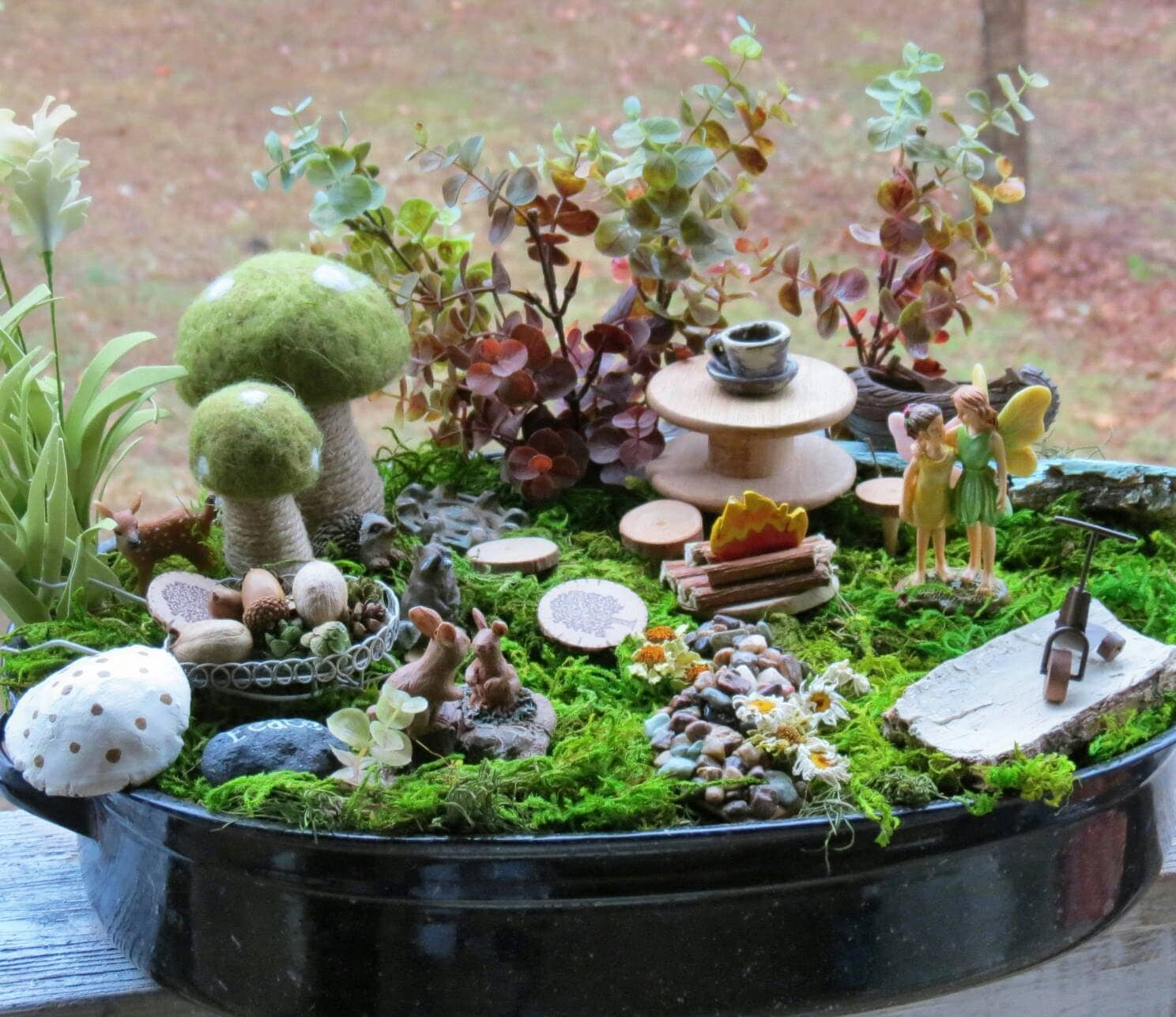 Complete Fairy Garden Kit with Container, Woodland Theme, Handmade Items, Unique. Tasteful and Adorable, FREE shipping