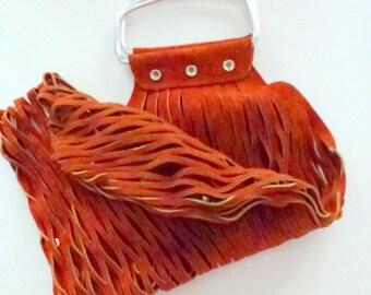 red leather shopper- red vintage bag- metal and leather bag- fishnet bag- rust /silver