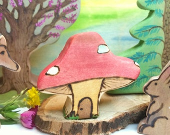 Red and white spotted toadstool faerie house, woodland decor, mushroom fairy door, nature table Display, wooden toadstool toy