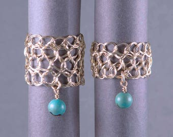 Size 13 Gold Turquoise Ring | Crocheted jewelry ring | Green gold rings |  Gold filigree ring