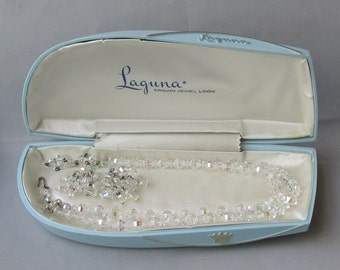 Vintage 1950's Laguna 2-Strand AB Crystal Necklace & Waterfall Earrings Set, Mint In Big Plastic Clamshell Case