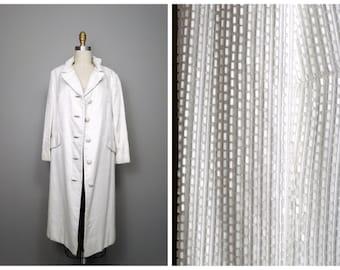 Lillie Rubin White Beaded Coat // All Bead Embellished Dress Coat // Heavily Beaded Long Jacket