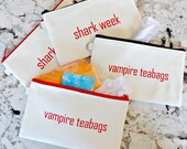 Tampon/Pads Pouch - Vampire Teabags & Shark Week Zippered Bag