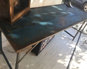 SOLD OUT Gorgeous Blue Folding Table Wood and Iron