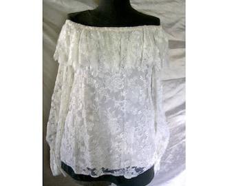 Vintage 80s Off Shoulder Off White Lace Blouse Ruffle Flouce Miss M Long Sleeve Romantic Top