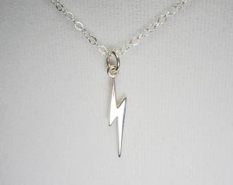 Sterling Silver Lightening Bolt Necklace, Minimalist Necklace, Layering Necklace, Celestial Pendant, Dainty Necklace, Delicate Necklace