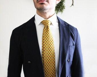 Flower Print Silk Tie / Yellow Tie/ Office Ties/ Men's Neckties/ Luxury Neckwear/ 100% Italian Silk/Wedding ties/ gifts for men/ties for men