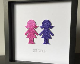 Best friend - Girl, Boy, Dog, Cat Silhouette - 3d Paper Art - Customize for your family in gold, silver, birthstone or favorite color.