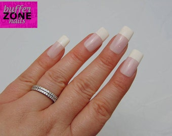 WIDE FIT  Hand Painted Press On Nails, Pink French, Long Length