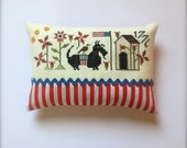 Completed primitive cross stitch Winsome Pair pincushion, 4th of July gift