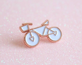 SECONDS Rose Gold Enamel Bicycle Pin, lapel pin, Bicycle Enamel Pin, Bicycle Brooch, Christmas Gift For Cyclists