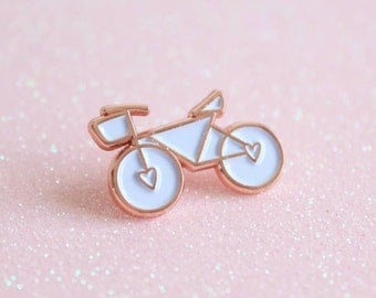 Rose Gold Enamel Bicycle Pin, lapel pin, Bicycle Enamel Pin, Bicycle Brooch, Christmas Gift For Cyclists, Stocking Filler, Stocking Stuffer