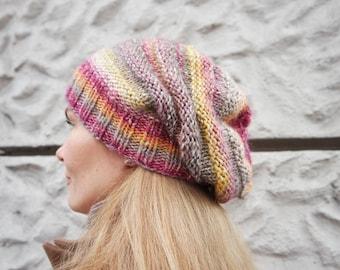 Autumn Hat/ Slouchy Knit Beanie Hat/ Pink Wool Cap/ Woman Autumn Hat/ Warm Wool Beanie/ Autumn Beanie/ Autumn Accessory/ Autumn Knit