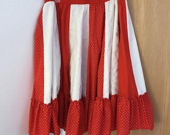 Vintage red and white stripes polka dots full skirt