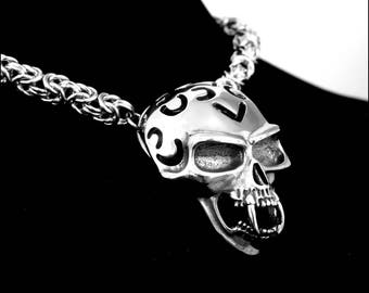 Huge Ferocious Kickass Vampire Skull On Thick Byzantine Design Stainless Steel Chainmaille Necklace