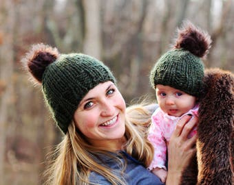 Mommy & Me Beanie Hats with Fur pompom