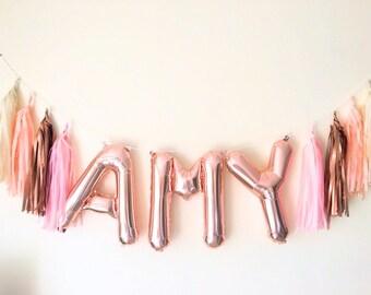 Foil Rose Gold Letter/Number balloon Garland with tassels babyshower wedding parties birthdays
