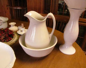 Simplicity White Ironstone Pitcher Colonial Water Jug Antique White Ironstone Large Ewer White Iron stone Ironstone Pitchers
