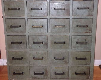 Vintage 20 Drawer Cabinet Hardware Store Apothecary Cubby Storage