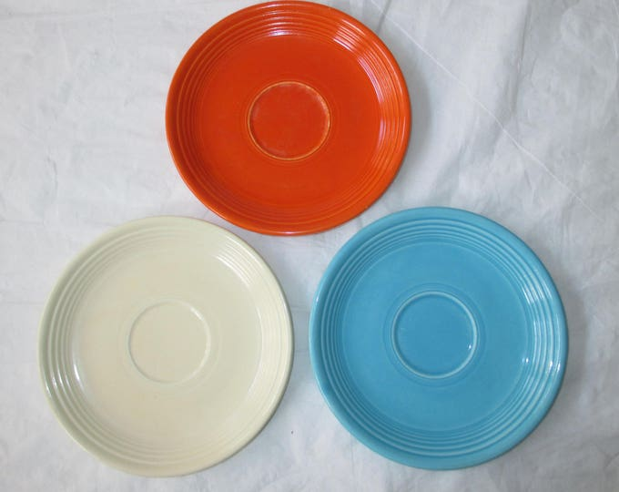 Homer Laughlin China: 3 Vintage Fiesta Saucers in Turquoise, Ivory, & Radioactive Red (c. 1930s)