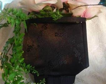 Vintage/Black/Purse/Evening Bag/Brocade Pint/Bow/Handbag/Flowers