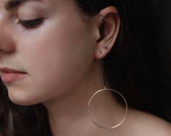 BLACK and GOLD HOOPS Earrings by jac and hugo in 9ct gold