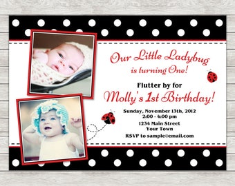 Ladybug Birthday Invitation - Printable File or Printed Invitations