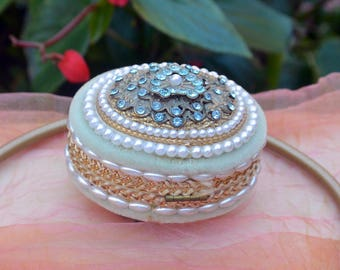 Egg Trinket/Jewelry Box - Hand Made - Pearl, Beads, Gold Accents - Vintage - Stunning!