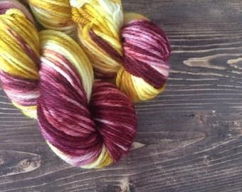 Multicolor hand dyed yarn, bulky yarn, superwash merino, orange yarn, red yarn, pink yarn,