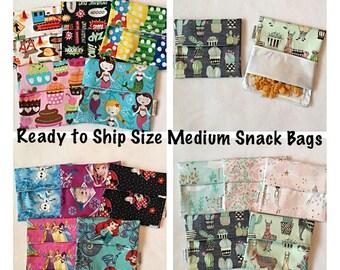 Ready to Ship Reusable Snack Bags - BPA Free - Size Medium