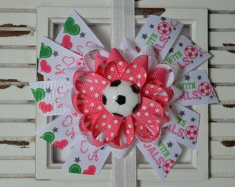 Pink Soccer Bow