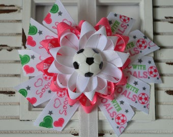 Pink and White Soccer Hair Bow