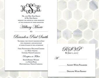 Classic Extended Monogram Wedding Invitation Suite - Printable Classic and Traditional Custom Monogram Invitation with Formal Script