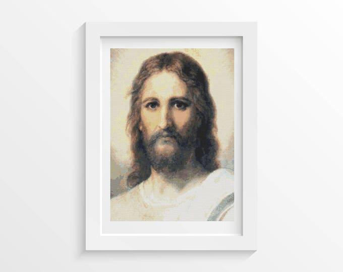 Cross Stitch Pattern PDF, Embroidery Chart, Art Cross Stitch, Jesus by Heinrich Hofmann (HOFMA01)