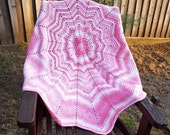 Crocheted 12 point star baby blanket - pink and white cot cover girls stripey afghan