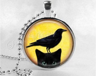 BLACK CAT Necklace Pendant, Raven Pendant Necklace, Cat Jewelry, Cat Charm, Glass Photo Art Necklace Pendant, Black Cat Jewelry, Crow