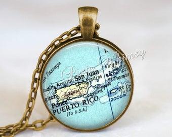 PUERTO RICO MAP Necklace, Puerto Rico Pendant, Puerto Rico Map Pendant, Puerto Rico Keychain, Puerto Rico Necklace, Puerto Rico Jewely