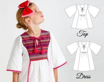 Girls Dress Pattern, Girls Top Patterns, Tunic Patterns, Girls Sewing Patterns, Childrens Sewing Patterns, Dress Patterns, FLORENCE